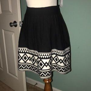 Freeway Wool Aztec Print Pleated Skirt